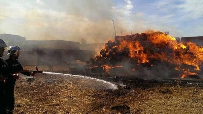 حريق يلتهم الآلاف من أكوام التبن ضواحي سطات