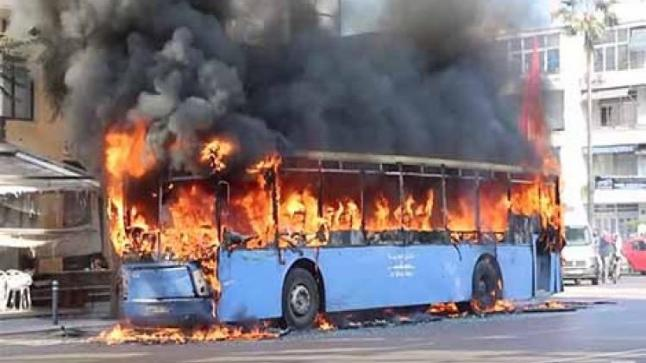 هلع ورعب بسبب احتراق حافلة بفاس (فيديو)